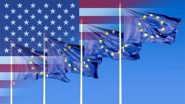 European and USA flags